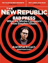 捏造特集を組んだニュー・リパブリック誌2003年11月10日号の表紙にはグラス氏写真が掲載された